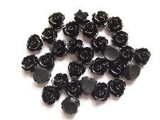 10pz abbellimenti FIORE CABOCHON in resina  10mm colore nero
