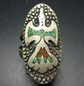Old TOMMY & WILLIAM SINGER Sterling Silver Chip Inlay PEYOTE BIRD RING size 6.5