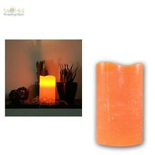 LED Echtwachs Kerze 12,5x7,5cm ORANGE flammenlose Kerzen mi Timer flackernd