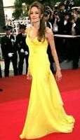 ICONIC Emanuel Ungaro Yellow Ruched Long Evening Dress Runway Gown US 2 4 IT 38