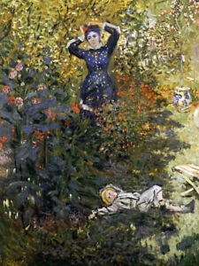 """CLAUDE MONET """"Camille And Jean In Garden"""" PRINT choose SIZE, from 55cm up, NEW"""