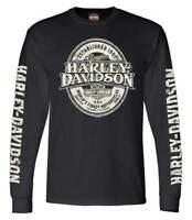 Harley-Davidson Men's Distressed Branded Oval Long Sleeve Crew Neck Shirt, Black