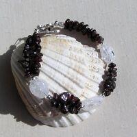 """Red Garnet & Crackled Clear Quartz Crystal Gemstone Bracelet """"Vervain Dew"""""""