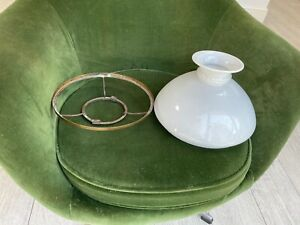 victorian  large white vesta oil lamp shade with gallery