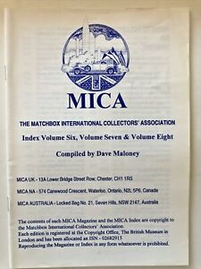 Matchbox Dinky MICA Magazine index for volume 6 & 7 & 8 vintage diecasr