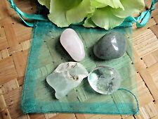 159-Pochette Coeur et poumons-Préhnite-Aventurine-Quartz rose-Cristal de roche