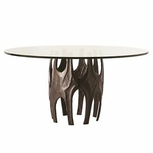 """60"""" Round Dining Table Modern Black Clear Antique Bronze Finish Solid Aluminum G"""