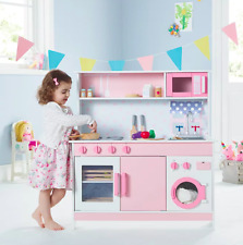 Pink Wooden Play Kitchen Child Chef Toy Kids Cooking Learning Educational Gift