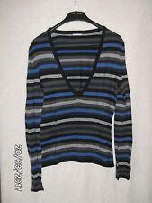 """Feiner Pullover """"Street One"""" langarm grau/blau/schw geringelt für Damen Gr. 38"""