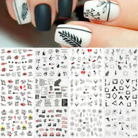 Nail Water Decals Flower Plant English Words Nail Art Transfer Stickers Paper