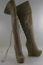 Tono de piel 14cm Tacón Cuña Alta 3.8cm Plataforma SEXY Botas a la rodilla