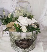 POT DE FLEURS FLOWERS &garden métal vintage gris/vert shbby Maison campagne