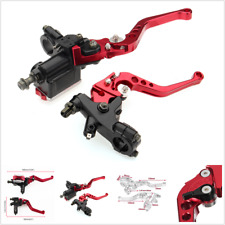 "7/8"" 22mm Universal Motorcycle Brake Clutch levers Master Cylinder Reservoir red"