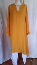 Ladies Dark Orange Kaftan Long Sleeve Asymmetric Hem Size XL