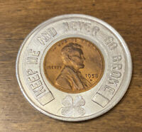 Encased Wheat Penny A&P Food Stores 100th Anniversary 1859-1959 W/ 1958 Cent