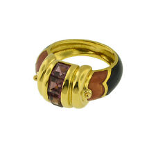 VINTAGE 18K YELLOW GOLD RETRO LA NOUVELLE BAGUE RING SIZE 6 ENAMEL & TOURMALINE