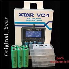 6 SAMSUNG 25R INR18650  RECHARGEABLE BATTERY 35A DISCHARGE 3.7 +XTAR VC4 Charger