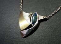 Elegante 925 Silber Kette FS Franz Scheurle Designer Teil Vergoldet Blau Grün