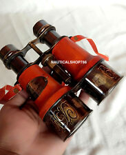 Antique Marine Victorian London Binocular With Red Leather