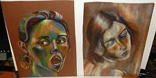 JESSICA PAIR OF ORIGINAL PASTEL ABSTRACT PORTRAIT FACE FOLK PAINTINGS