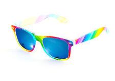 Rainbow Wayfare Sunglasses Blue Mirror Lens Mens Ladies Festival Gay Pride