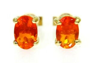 Bright Fire Opal Oval Solitaire 9ct Yellow Gold Stud Earrings