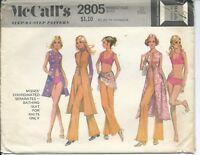 M 2805 sewing pattern 70's trendy BATHING SUIT Top Bikini VEST PANTS sew size 10