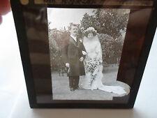Vintage Wedding Bride+Groom Rare Old Glass Lantern Slide