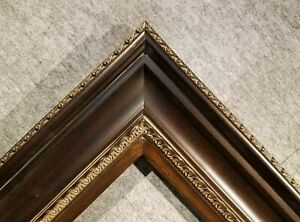 """5.75"""" WIDE Dark Brown photo family Oil Painting Wood Picture Frame 333D"""