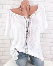 Bluse Damen Tunika Italy Ibiza Style Stickerei 36 38 40 42 weiß Häkel Spitze