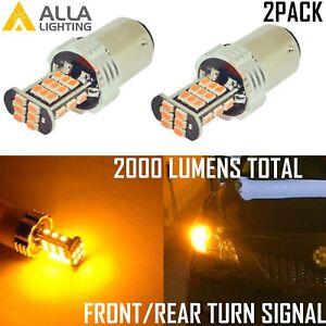 Alla Lighting 2x 1156 30-LED Turn Signal Lights Blinker Bulbs Lamps,Amber Yellow