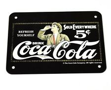 Coca-Cola Coke Blechschild Blech Metal Schild - Logo schwarz-weiß Mann mit Glas