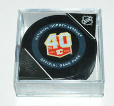 CALGARY FLAMES 40th Anniversary Logo 2019-2020 OFFICIAL NHL GAME PUCK Inglasco