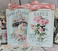 "Shabby Chic Vintage Country Cottage style Wall Decor Sign ""Cafes Paris"" Set of 2"