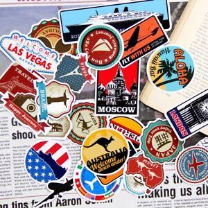 100 Luggage Suitcase Retro Vinyl Stickers Vintage City Names World Travel UK NEW