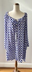 Maggie T Blue and White Chevron Patterned Silk Top Blouse Plus Size 3 (22-24)