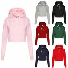 AU Womens Plain Casual Crop Top Pullover Hooded Sweatshirt Jumper Hoodie Sweater