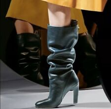 "*NEW* $798 STUART WEITZMAN ""CHARLIE"" Sz 6 Green KNEE HIGH LEATHER BOOT"