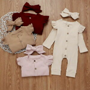 Newborn Baby Girls Clothes Romper Jumpsuit Knitted Bodysuit Headband Outfits Set