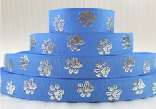 Silver Paws on Sky Blue 15mm wide printed grosgrain ribbon