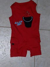 "NWT - Gymboree ""Beach Crawler"" red shorts romper - 0-3 mos boys"