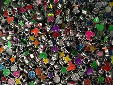 6 perle foro largo plastica laccate forme e colori misti foro 4 mm bigiotteria