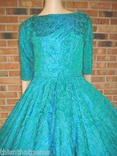 Vtg 50s EMBROIDERED TAFFETA Bow RHINESTONE Full CIRCLE Skirt PARTY Dress XS S