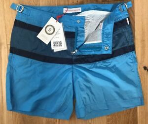 "Orlebar Brown Bulldog Swim Shorts 32""W Tri Stripe Bluejay In Colour New"