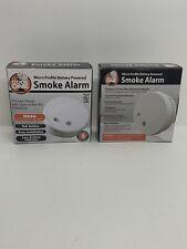 2 Pack Discrete Micro Profile Battery Powered Smoke Alarms Code One I9040