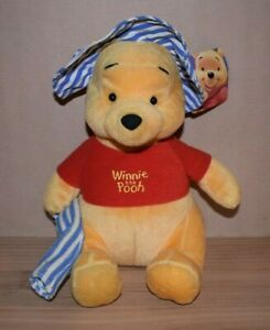 Disney Winnie the Pooh Plush Soft Toy Summer Beach Hat & Bathing Towel 25cm S03