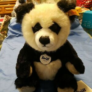 STEIFF PANDA fully jointed BEAR EAR BUTTON  LARGE.11 INCH