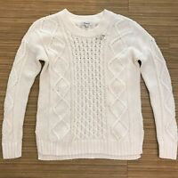 NWT Madewell Classic Cable Knit Ivory Womens Pullover Knit Sweater Size XS