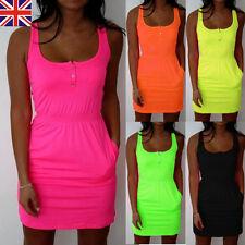 UK STOCK Fashion Womens Summer Casual Vest Shirt Sleeveless Long Tops Mini Dress