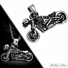 Herren Edelstahl Kettenanhänger Rocker Biker Chopper Skull Motorrad Silber